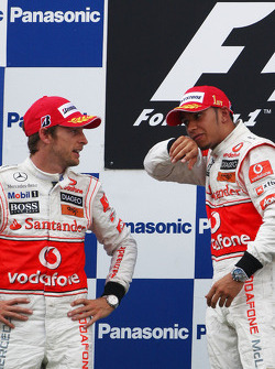 Podium: race winner Lewis Hamilton, McLaren Mercedes, second place Jenson Button, McLaren Mercedes