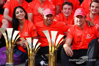 Mclaren team celebration, Nicole Scherzinger, Singer in the Pussycat Dolls and girlfriend of Lewis Hamilton, Lewis Hamilton, McLaren Mercedes, Jenson Button, McLaren Mercedes