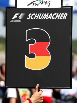The grid board of Michael Schumacher, Mercedes GP