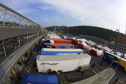 Sun rises over the Spa Francorchamps paddock