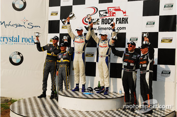 GT podium: John Edwards, Adam Christodoulou SpeedSource Mazda RX-8, James Gue, Lea Keen Dempsey Racing Mazda RX-8 and Emil Assentato, Jeff Segal SpeedSource Mazda: RX-8