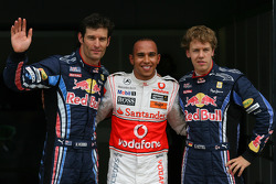 Lewis Hamilton, McLaren Mercedes gets provisional pole position with Mark Webber, Red Bull Racing 2nd and Sebastian Vettel, Red Bull Racing 3rd