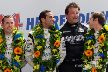 LMP2 podium: class winners Nick Leventis, Danny Watts and Jonny Kane