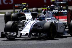 Valtteri Bottas, Williams FW38, leads Sergio Perez, Force India VJM09