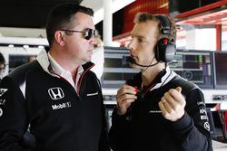 Eric Boullier, McLaren Racing Director, talks to Mark Temple