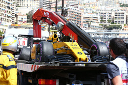 The Renault Sport F1 Team RS16 of Jolyon Palmer, Renault Sport F1 Team is recovered back to the pits on the back of a truck