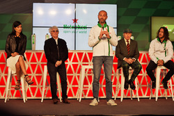 (L to R): Stephanie Sigman, Actress; Bernie Ecclestone, Heineken Global Head of Brand; Jackie Stewart, Former Football Player, at a Heineken sponsorship announcement