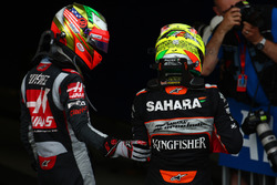 Esteban Gutierrez, Haas F1 Team VF-16 and Sergio Perez, Force India F1 VJM09
