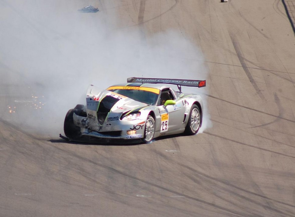 Toni Seiler after a crash at 150 MPH, ADAC GT Masters EuroSpeedway 2007