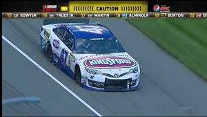 NASCAR Bobby Labonte blows a tire and spins into the grass | Michigan International Speedway (2013)