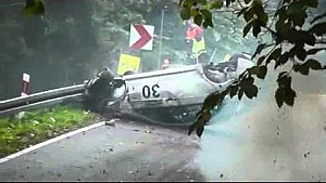 Mitsubishi Lancer EVO X heavy crash at Magura Malastowska