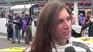 Interview Cyndie Allemann on the starting grid