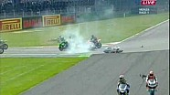 World Superbikes 2009 Monza: Massive first corner crash.