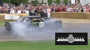 Ken Block burns tyres of Hoonigan Mustang at Festival of Speed!