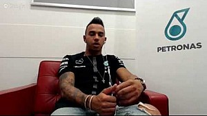 Lewis Hamilton speaks to fans