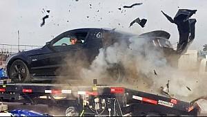 Dyno goes horribly wrong: Mustang explodes tire on dyno at 150MPH!