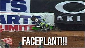 Clint Bowyer Faceplants During Supercross Holeshot Race