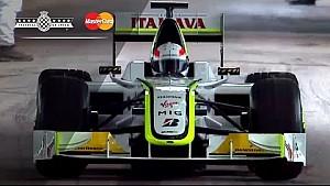 Brundle drives Button's Brawn-Mercedes BGP 001