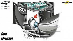 Giorgio Piola - Mercedes W07 'Spoon' wing and monkey seat changes - Belgium