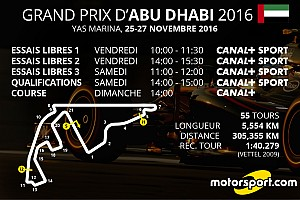 Formule 1 Preview Le programme TV du GP d'Abu Dhabi