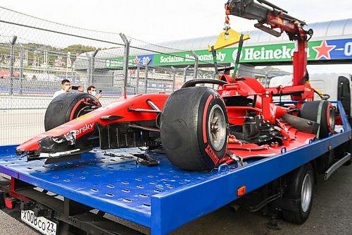 VIDEO: Vettel y su choque en Rusia que lo eliminó en la Q2