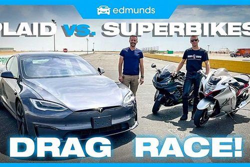 A Tesla Model S Plaid versenyzett egy pályán a Suzuki Hayabusával és a Kawasaki ZX-14R-rel