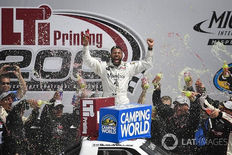 Darrell Wallace Jr. takes spectacular win in Michigan Truck race