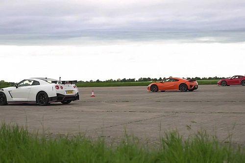 A Porsche 911 Turbo S a Nissan GT-R Nismo és a Honda NSX ellenfele volt a pályán