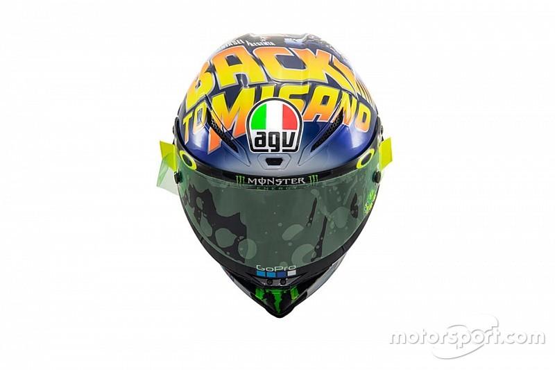 In beeld: Rossi presenteert Back to Misano-helm