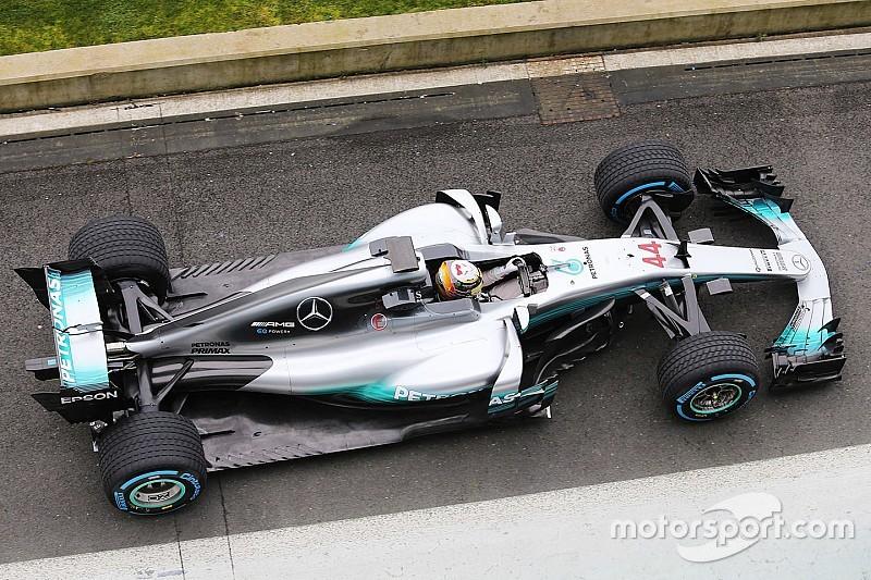 【F1】メルセデスのニューマシンW08、発表会を前に走行