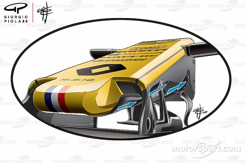 Analisi Renault:ci sono tre prese che alimentano l'S-duct della R.S.18