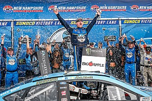 Kevin Harvick bumps Kyle Busch out of way to win New Hampshire