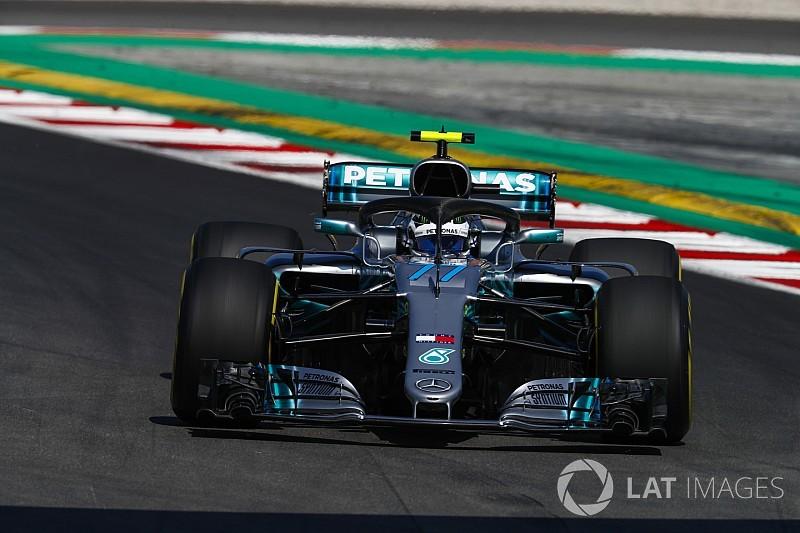 Com Bottas, Mercedes domina TL1 marcado por erros na Espanha