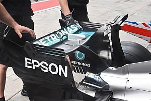Mercedes: l'ala posteriore ha una corda cortissima!