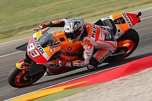 MotoGP Practice report Aragon MotoGP: Marquez leads warm-up, Lorenzo crashes