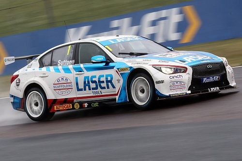 Thruxton BTCC: Champion Sutton tops wet practice running