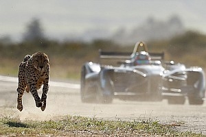 Formula E Special feature Formula E car races a cheetah in savannah sprint – video