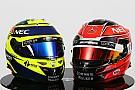 "Forma-1 ""Visszatér"" Schumacher sisakja: Ocon piros fejfedője"