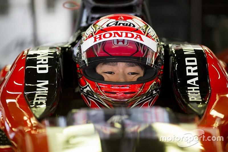 Matsushita teratas, Gelael P14 pada hari pertama tes F2 Bahrain