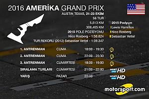 Formula 1 Ön Bakış 2016 Amerika GP saat kaçta hangi kanalda?