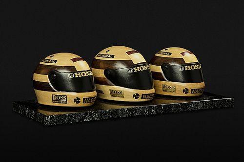Capacetes de tricampeonato de Senna são lembrados em obra de arte