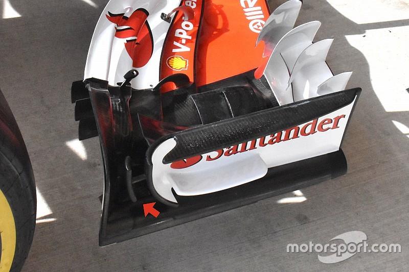 Egy T alakú elem került a Ferrari első szárnyára