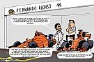 Cartoon van Cirebox - Alonso ruilt zijn wagen in