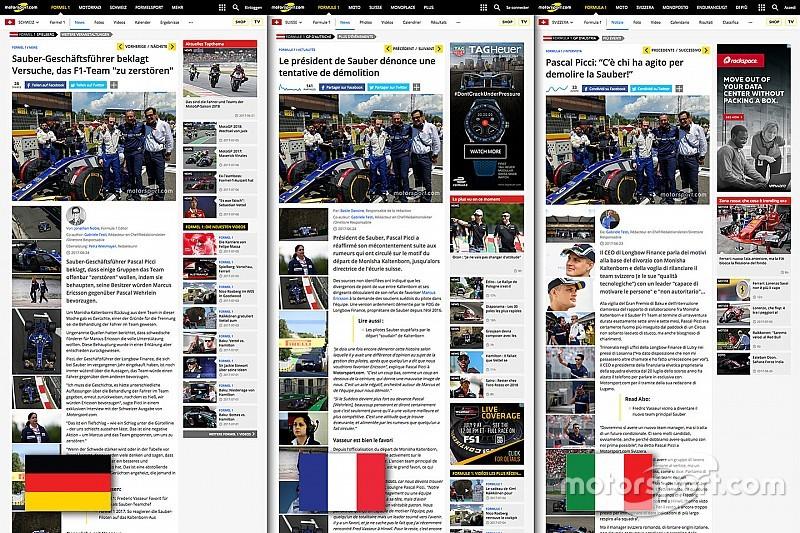 Motorsport.com lanza la innovadora edición suiza, disponible en tres idiomas
