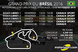 Formule 1 Preview Le programme TV du Grand Prix du Brésil