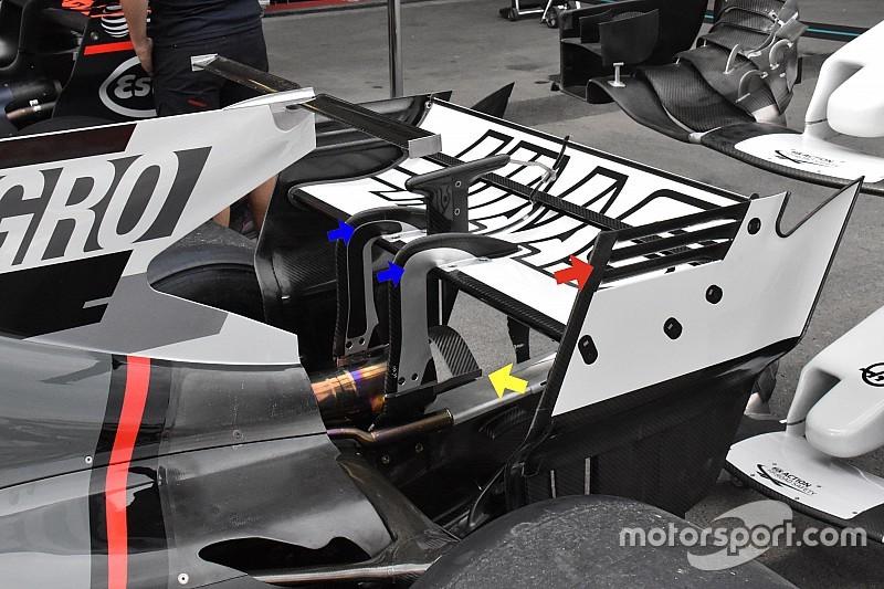 Haas: doppio pilone dell'ala e due Monkey seat come la Ferrari