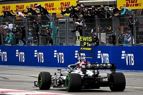 F1 Russian GP: Hamilton takes 100th win as late rain denies Norris