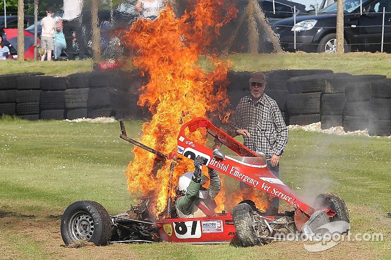 Historic Formula Ford driver saved from fiery crash