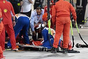 Formula 1 Breaking news Ferrari mechanic suffers broken leg in Raikkonen incident