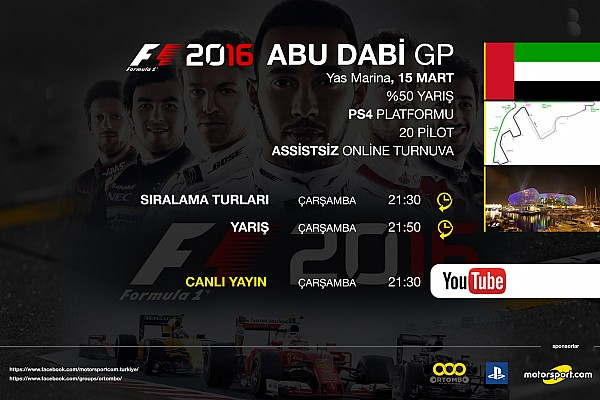 FORMULA 1 LİGİ Son dakika F1 2016 online turnuva: Abu Dabi GP - Canlı Yayın